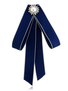Image of Bow Tie Spilla Blue Costume Accessori Vintage British Women Beaded Ribbon Jewelry collare