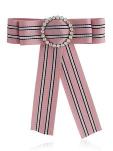 Image of Bow Tie Spilla rosa a strisce Vintage British Collar gioielli donne Beaded Ribbon Costume Accessori