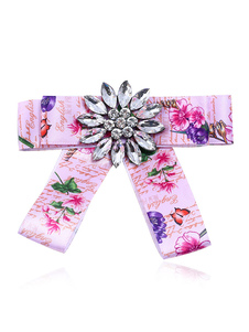 Image of Bow Tie Spille Pink Floral Print Costume Accessori Vintage British Women Beaded Ribbon Jewelry collare
