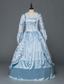Image of Abiti retrò in stile rococò vittoriano\, abiti vintage da donna con maniche lunghe in pizzo blu chiaro
