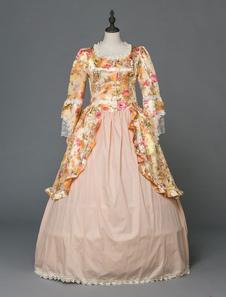 Image of Abiti retrò di Halloween rococò vittoriano abiti da donna con stampa floreale bionda vintage manica lunga