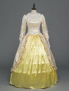 Image of Abiti retrò in stile rococò vittoriano Abiti da sposa in pizzo vintage beige con maniche lunghe