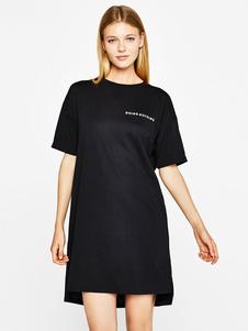 Image of Lettere a manica corta da donna T-shirt stampate estate abito ca