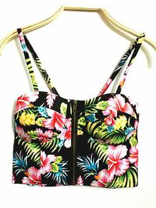 Image of Top corto floreale Top superiore nero con zip