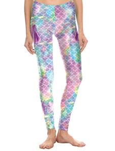 Medias de sirena Medias azules Disfraz Medias de escamas de pescado Pantalones pitillos de Halloween