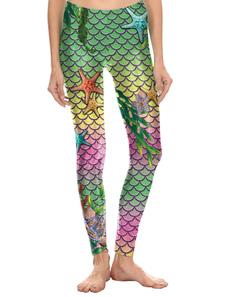 Leggings de sirena Disfraz de Halloween Leggings de escamas de pescado Pantalones pitillo Medias