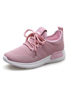 Image of Scarpe sportive da donna Scarpe da ginnastica rosa Scarpe da corsa con tacco e punta rotonda in pizzo