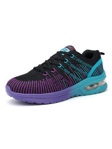 Image of Sneakers donna Purple Mesh Round Toe Lace Up Scarpe sportive Scarpe da corsa