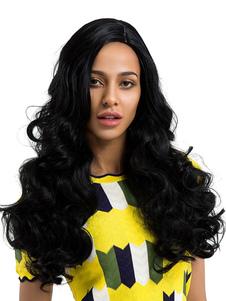 Image of Parrucche capelli neri Parrucche sintetiche ricci lunghi ricci con frangia laterale
