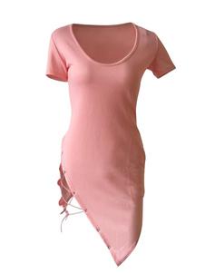 Image of Abito estivo asimmetrico manica corta donna manica corta t-shirt manica lunga girocollo