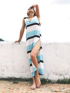Image of Abito lungo da donna a maniche lunghe con scollo a V a righe blu chiaro