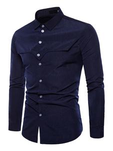 Image of Camicia a maniche lunghe Camicia casual da uomo tagliata disegna
