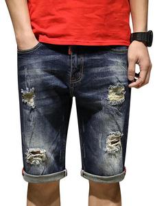 Image of Pantaloncini di jeans da uomo Taglie forti Jeans strappati blu P