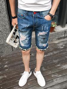 Image of Pantaloncini jeans blu Jeans strappati distrutti Scratch Zipper