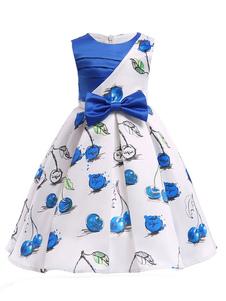 Robes de demoiselle d'honneur une ligne bleu royal imprimé Applique genou longueur arc Sash enfants robes de soirée