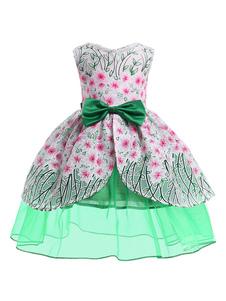 Robes de demoiselle d'honneur vert menthe imprimé floral arcs sans manches enfants robes de soirée