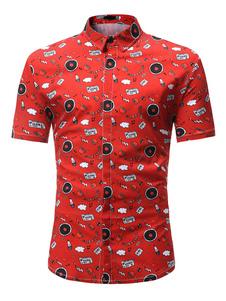Image of Camicia uomo rossa Camicia casual a maniche corte con stampa cla