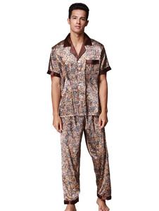 Image of abbigliamento da salotto da uomo 2018 pigiama in raso con tasca stampa abbigliamento da casa a manica corta