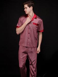 Image of Camicia da notte 2018 rossa a due pezzi da uomo a pois con indosso due pezzi di pigiama in seta