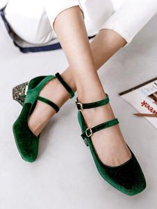 Atrovirens Mujer Zapatos Square Toe Hebilla Detalle Chunky Heels