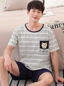 Image of Men Pajama Set Cotone Summer Lounge Wear Stampa Stripe manica corta Homewear
