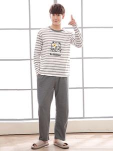 Image of Pigiama da uomo Set Stripe Print Cotton Homewear Long Sleeve Gre