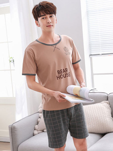 Image of Pigiama da uomo 2019 in cotone con stampa manica corta Abbigliam
