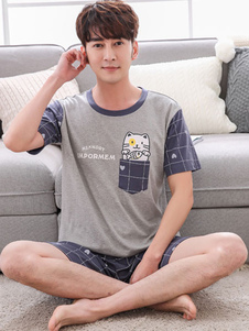 Image of Pantalone in cotone per uomo. Stampa bicolore\, manica lunga\, pigiama estivo\, 2 pezzi