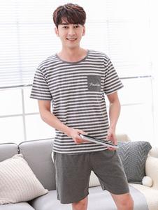 Image of Pantaloni da uomo 2019 estivo in maglina a righe in cotone 2 pez