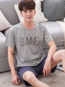 Image of Pigiama grigio con stampa in cotone Homewear 2 pezzi Manica cort