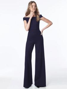 Image of Tuta lunga da donna con spalle scoperte Tuta Bardot a gamba larg