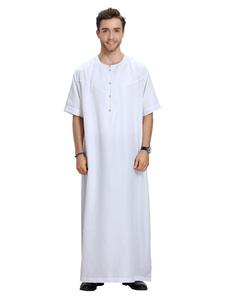 Image of Abito arabo da uomo con maniche lunghe in tinta unita a mezza manica