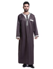 Image of Abito da uomo a maniche lunghe con ricamo bicolore Arabian Abaya