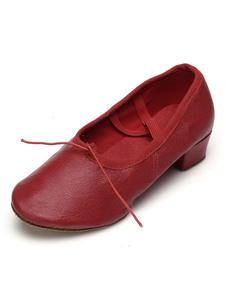 Zapatos de baile de ballet zapatos de baile de punta redonda Criss Cruz para mujeres