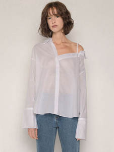 Image of Camicia casual da donna a manica lunga asimmetrica estiva