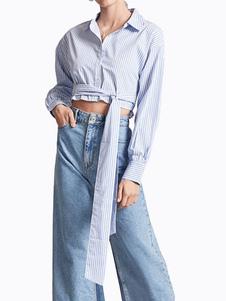 Image of Camicia a righe da donna Camicia manica lunga manica lunga in cotone blu