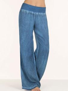 Image of Pantaloni casual a vita alta con pantaloni larghi in denim