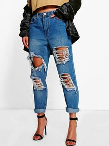 Image of Jeans strappati da donna Jeans strappati blu