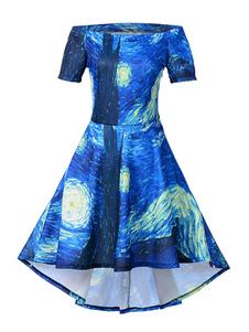 Image of Abiti vintage da donna Off The Shoulder Manica corta Artwork Stampa Abito altalena Royal Blue basso