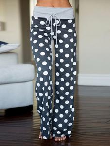 Image of Pantaloni del pigiama Pantaloni delle donne Pantaloni a pois con