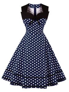 Image of Abito vintage da donna a pois con fiocchi Sweetheart senza maniche Swing Summer Dress
