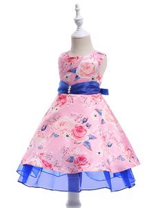 Robe de demoiselle d'honneur rose Floral Print Sleeveless A Line genou longueur Sash enfants robes de soirée