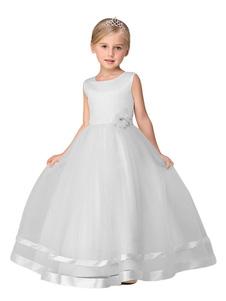 Blanco vestido para niña 2018 con flor princesa desfile vestido sin mangas tobillo Largoitud