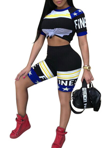 Image of T-shirt da donna 2019 con stampa sportiva a 2 pezzi. T-shirt sta