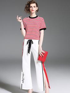Image of T-shirt a manica corta a maniche corte a due pezzi donna con pan