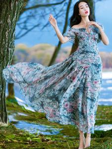 Image of        Abito lungo floreale in chiffon Abito da donna asimmetrico con spalle lunghe Abito estivo