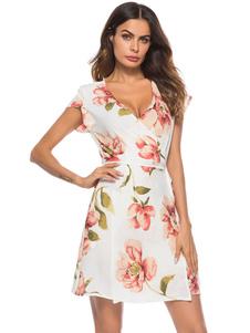Image of Vestito estivo da donna 2018 bianco vestito da tè manica corta scollo a V abito da donna in chiffon stampato floreale