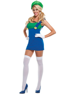 Image of Super Mario Costume Halloween Blue Women Maglione Gonna Set 3 pe
