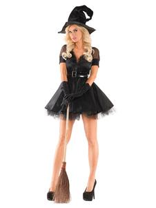 Image of Strega Costume Halloween Donna Nero Abito corto e cappello