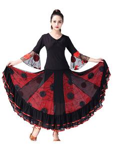 Image of Ballroom Dance Costume Fiori Top e gonna Set donna che si allena